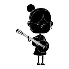 Girl playing guitar cartoon icon vector illustration graphic design