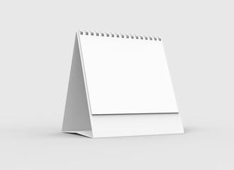 Desktop spiral binding calendar isolated on soft gray background. 3D illustrating.