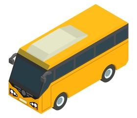 yellow isometric bus for carrying passengers