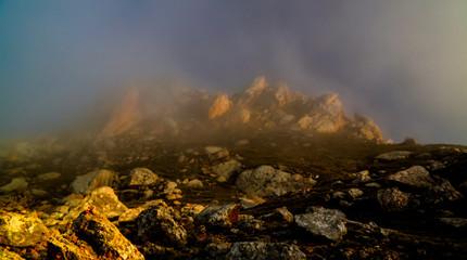 Acrylic Prints Coral Panorama of Schalbus-Dag mountain in fog, Dagestan, Caucasus Rus