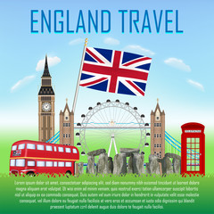 set of icon and landmark of united kingdom england