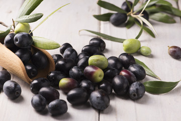Black Olives on a white table