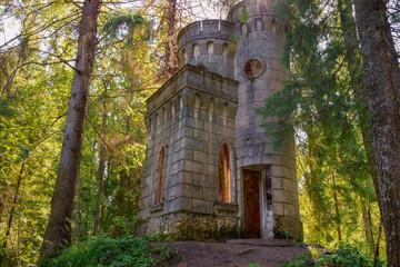 The time-destroyed romantic chapel-tomb (1914). Manor Zavetnoye. Novgorod Region, Russia
