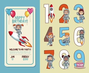 Kids birthday party invitation card with numbers vector illustration graphic design