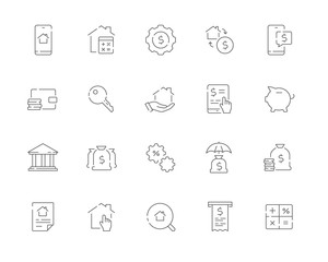 Simple set of Mortgage related vector line web icons. Contains such Icons as Bank, Property, Calculator, Money and more.