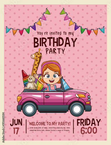 Kids birthday invitation card vector illustration graphic design kids birthday invitation card vector illustration graphic design filmwisefo