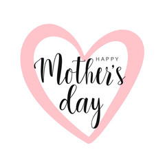 Happy Mother's day card, pink contour heart isolated on white. Vector illustration. Vector card, badge for Mother's day.