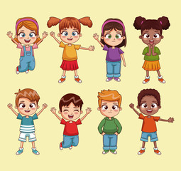 Collection of kids cartoon vector illustration graphic design