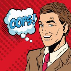 Businessman saying oops pop art cartoon vector illustration graphic design
