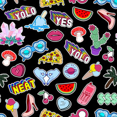 Black seamless pattern with lips, hearts, cactuses, watermelon, slang phrases, pizza, etc.