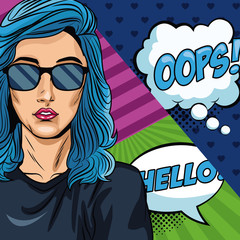 Woman with oops bubble pop art vector illustration graphic design