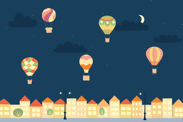 Vector night landscape with air balloons and town