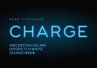 Charge vector linear neon typefaces, alphabet, letters, font, ty
