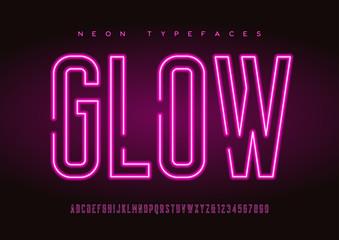 Glowing vector linear neon typefaces, alphabet, letters, font, t Fotomurales