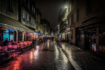 Architecture and attractions of the night city of France Caen