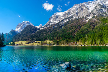 View on picturesque lake Hintersee in Bavaria