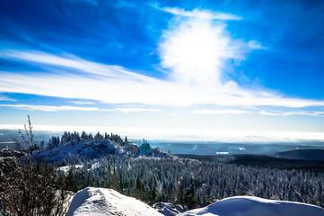 View on winter landscape in Harz mountain - Germany