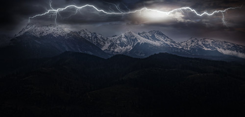 Photo Blinds Mountains lightning in the mountains