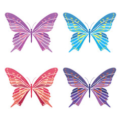 Set collection of butterflies isolated on white background. Vector illustration. Embroidery elements for patches, badges, stickers, greeting cards, patterns