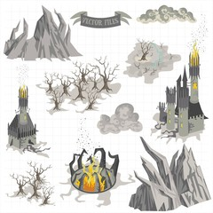 Fantasy Adventure map elements and colorful doodle hand draw in vector illustration isolated on white background