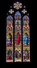 Obernai. Vitrail de l'église saints Pierre et Paul, Alsace, Bas Rhin. Grand Est