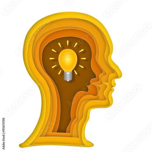 Abstract Origami Layer Of Human Head And Light Bulb Brain On Orange Background As Business