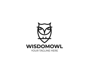 Owl logo template. Predator bird vector design. Wise bird illustration