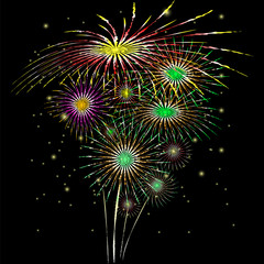 Vector image of salute. Fireworks on a black background.