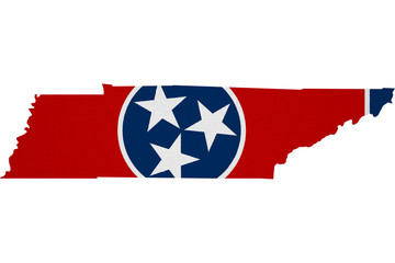 Tennessee flag USA with map