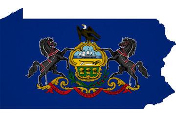 Pennsylvania flag USA with map