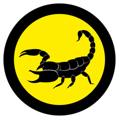 Vector image of a silhouette of a scorpion on a yellow background.