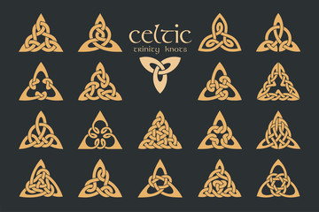 Vector celtic trinity knot. 18 items. Ethnic ornament. Geometric