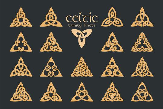 Vector celtic trinity knot. 18 items. Ethnic ornament. Geometric