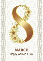 March 8. Flower gold design on a background of hearts