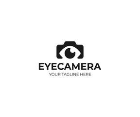 Photography logo template. Photo camera and eye vector design. Photographer illustration