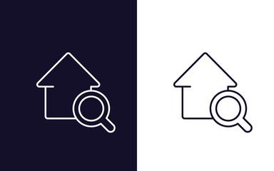 house search icon, real estate vector logo