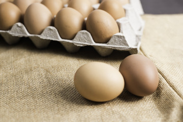 Eggs on cloth background.