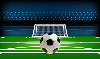 Football or soccer playing field with ball. Sport Game. Football stadium spotlight and scoreboard background with glitter light vector illustration
