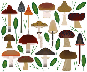 Vector flat style vector forest mushrooms. Ornamental, traditional with forest berries and mushroom, strawberries, deep, blueberries, mountain ash, cranberries, leaf