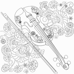 silhouette of violin with ornament