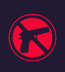 no guns sign with pistol