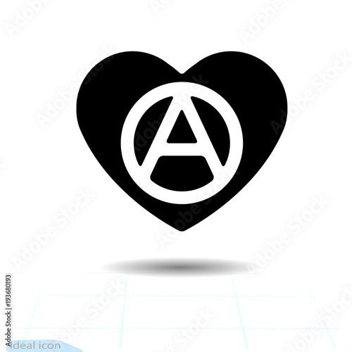 Heart Vector Black Icon Love Symbol The Anarchy Sign In Heart