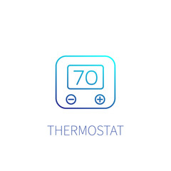 thermostat vector linear icon on white
