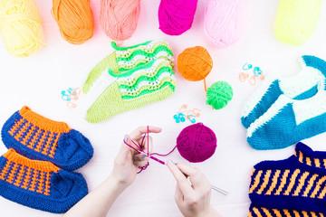 girl knits sock knitting needles