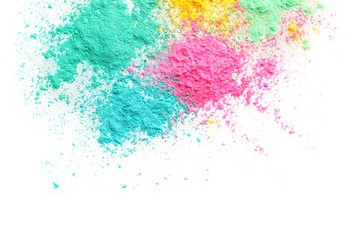 Colorful powders for Holi festival on white background