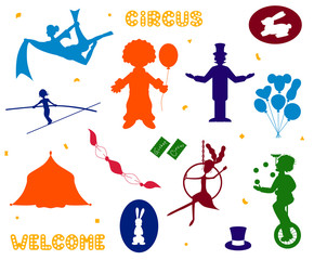 Set of Circus icon silhouette vector illustration
