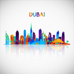 Dubai skyline silhouette in colorful geometric style. Symbol for your design. Vector illustration.