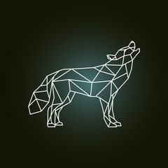 Geometric silhouette of the howling wolf. Side view. Vector illustration.