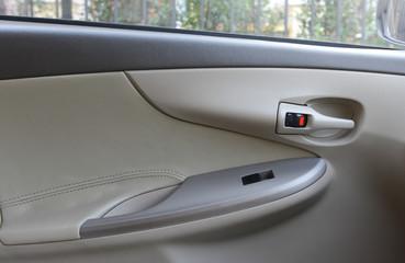 Close up of inside modern car door opener