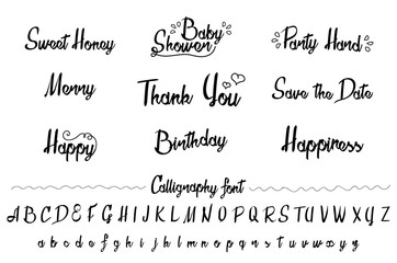Hand made brush and ink typeface set. Unique art. Party invitation design. Artistic design for invitations, posters, banners, greetings illustrations.